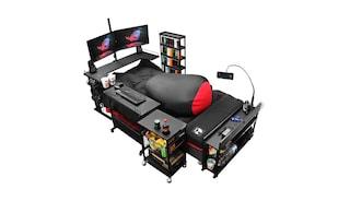 Con questo letto da gamer con bibite e snack puoi giocare senza alzarti dal materasso