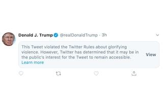 "Twitter limita un post di Trump: ""Glorifica la violenza"""