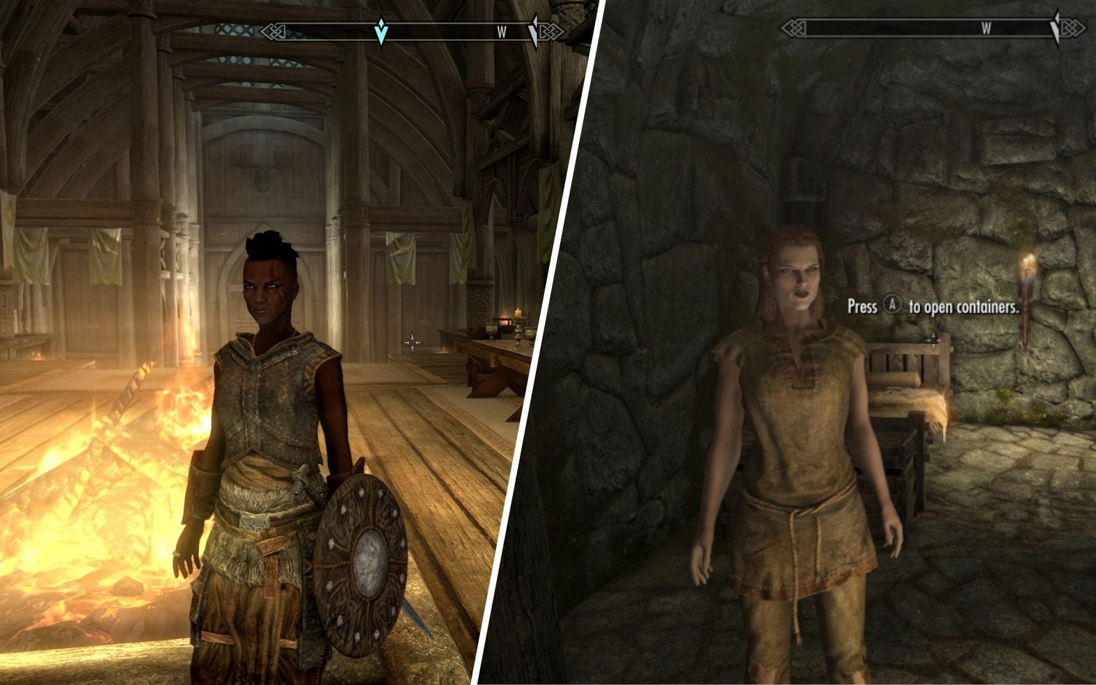 La differenza di illuminazione su pelle chiara e scura in Skyrim