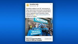 Torna la truffa dei finti buoni Decathlon, attenzione agli annunci sponsorizzati su Facebook