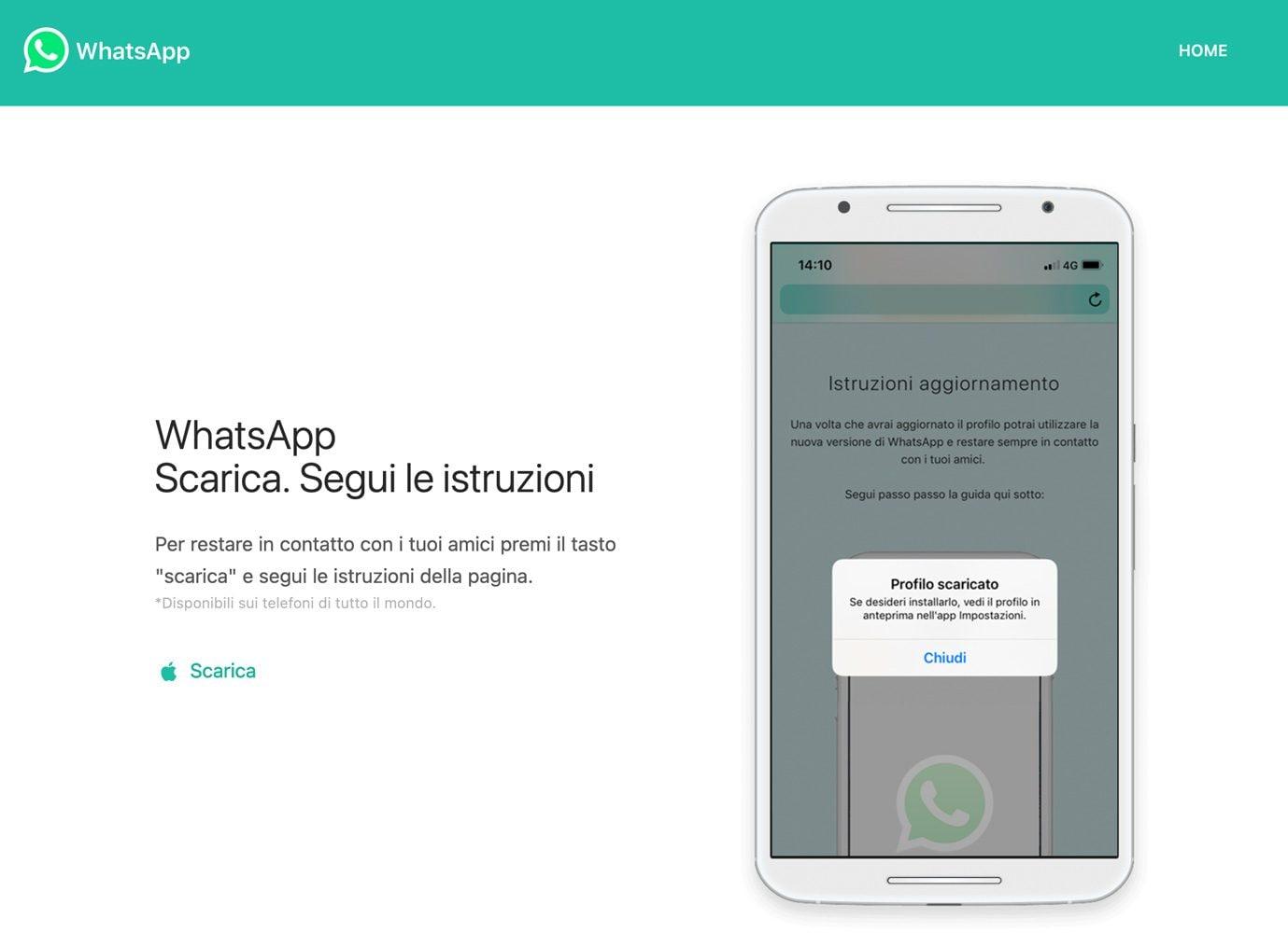 Il sito da cui veniva proposto il download della finta versione di WhatsApp. (Foto: CitizenLab)