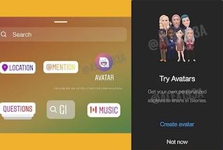 Arrivano gli avatar digitali per le storie di Instagram