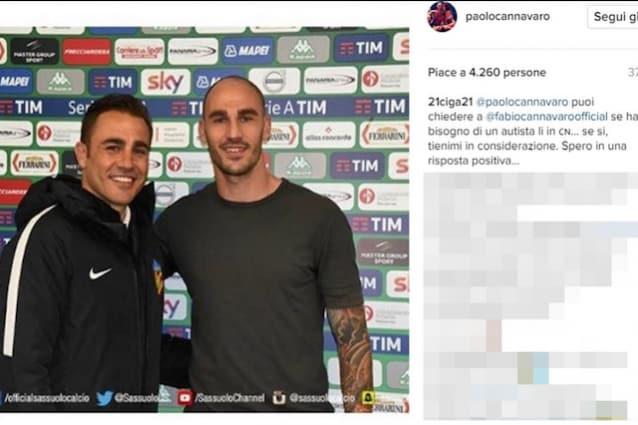 La curiosa richiesta di Cigarini a Paolo Cannavaro su Instagram (foto https://www.instagram.com/paolocannavaro/)