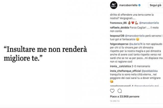 Il post polemico dopo Spal–Cagliari di Marco Borriello su Instagram