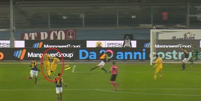 la conclusione di Matuidi, finita in rete, contro il Verona