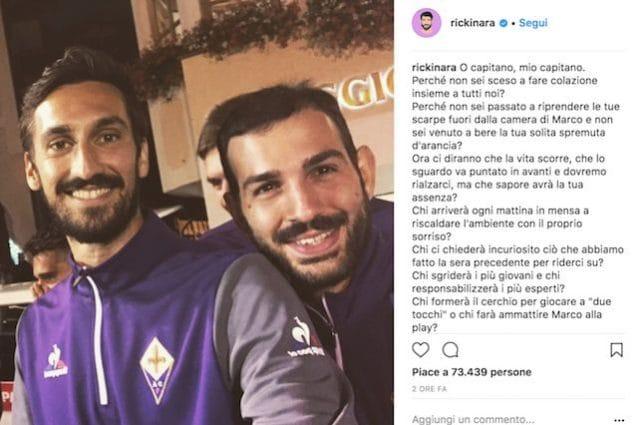 Riccardo Saponara ricorda su Instagram il compagno e amico Davide Astori