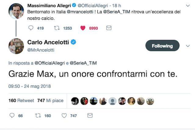 Il botta e risposta all'insegna del Fair Play tra Allegri e Ancelotti su Twitter