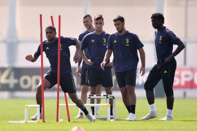 Kean (a destra) durante una seduta di allenamento della Juventus