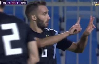 German Pezzella non dimentica: segna con l'Argentina e dedica il gol a Davide Astori