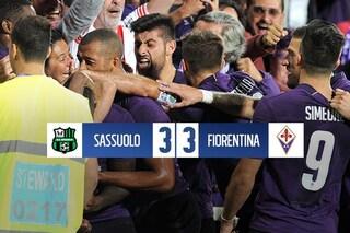 """Sassuolo beffato al 96esimo: la Fiorentina esce dal Mapei con un pareggio """"last minute"""""""