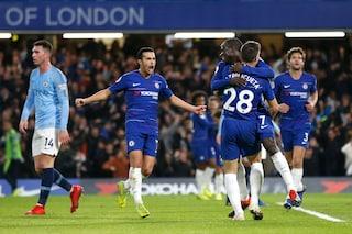 Sarri batte Guardiola e il City perde il primato: trionfo Chelsea con Kanté e David Luiz