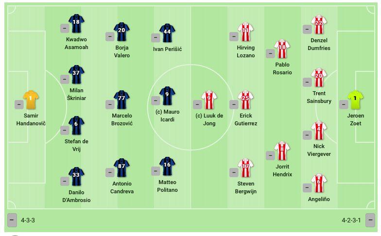Le formazioni di Inter e PSV. (sofascore.com)