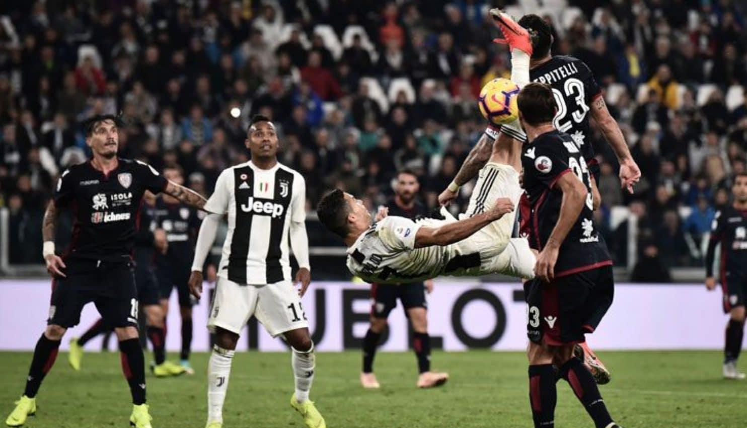 Già contro il Cagliari Cristiano Ronaldo cercò il gol in rovesciata