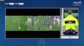 La moviola di Juventus-Sampdoria, Var decisivo sui rigori e sul gol annullato a Saponara