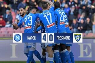 Il Napoli tiene il passo della Juventus: Frosinone tramortito dal poker azzurro