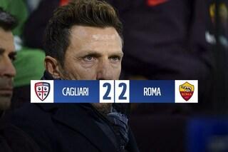 La Roma beffata al 95', frena anche a Cagliari: la sfortuna non abbandona Di Francesco