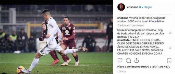 Il like di Soriano a CR7.