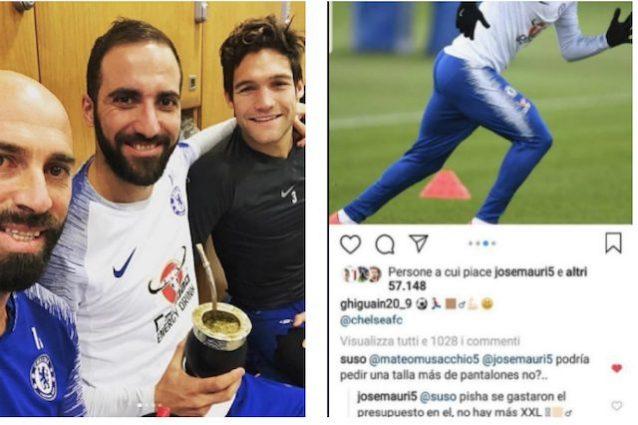 Chelsea, primo allenamento di Higuain: sfottò di Suso e Mauri