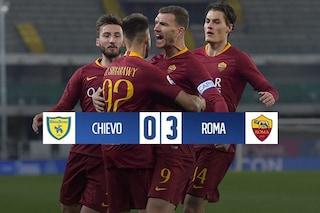 La Roma torna a vincere: Chievo battuto 3-0. Dzeko aggancia Delvecchio nei bomber all time