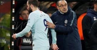 """Chelsea, Higuain: """"Con Sarri tornerò quello di prima. Ciclo finito in Serie A"""""""