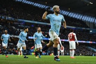 Tripletta di Aguero, il Manchester City batte l'Arsenal 3-1. Sorride lo United