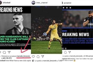 Mauro Icardi, via la fascia di capitano. E spuntano i like di Marcelo Brozovic