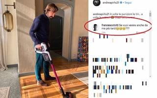 """Pirlo fa le pulizie di casa, Totti sfotte: """"Vieni anche a casa mia"""""""