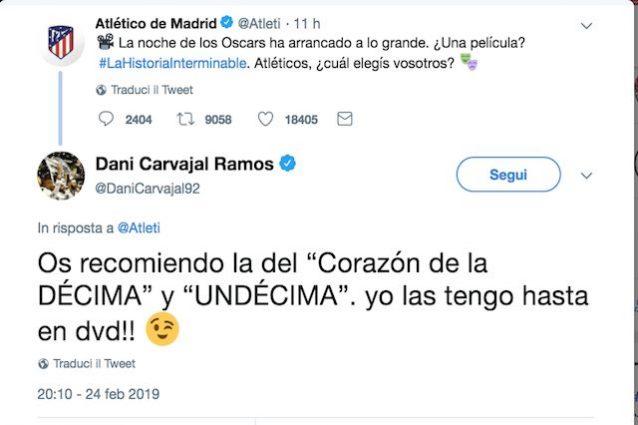 Botta e risposta su Twitter tra l'Atletico e Carvajal