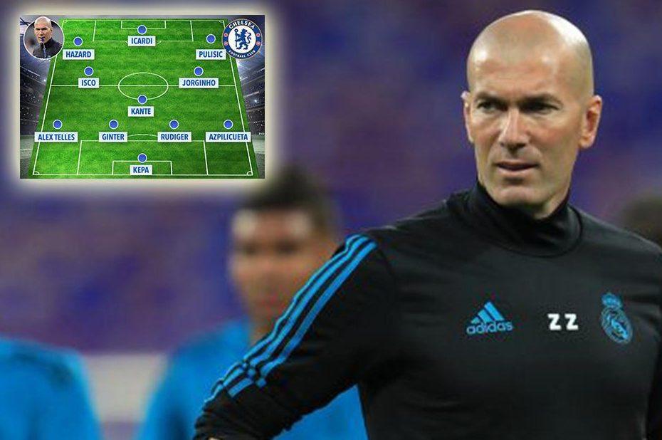 La ricostruzione fatta dal tabloid The Sun che ipotizza come sarà il Chelsea con Zidane