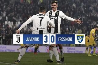 Juventus a forza 3: Dybala, Bonucci e Cristiano schiantano il Frosinone
