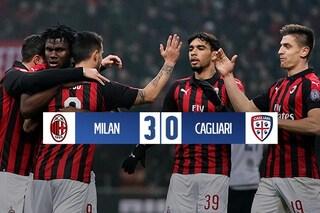 Il Milan continua a correre: Gattuso batte il Cagliari e torna al quarto posto