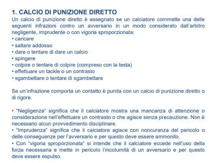 Cosa dice il regolamento FIGC