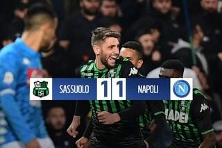 Il Sassuolo ferma il Napoli: tra De Zerbi e Ancelotti finisce 1-1