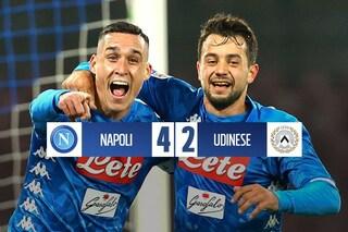 Milik-Mertens rilanciano il Napoli: 4-2 contro l'Udinese