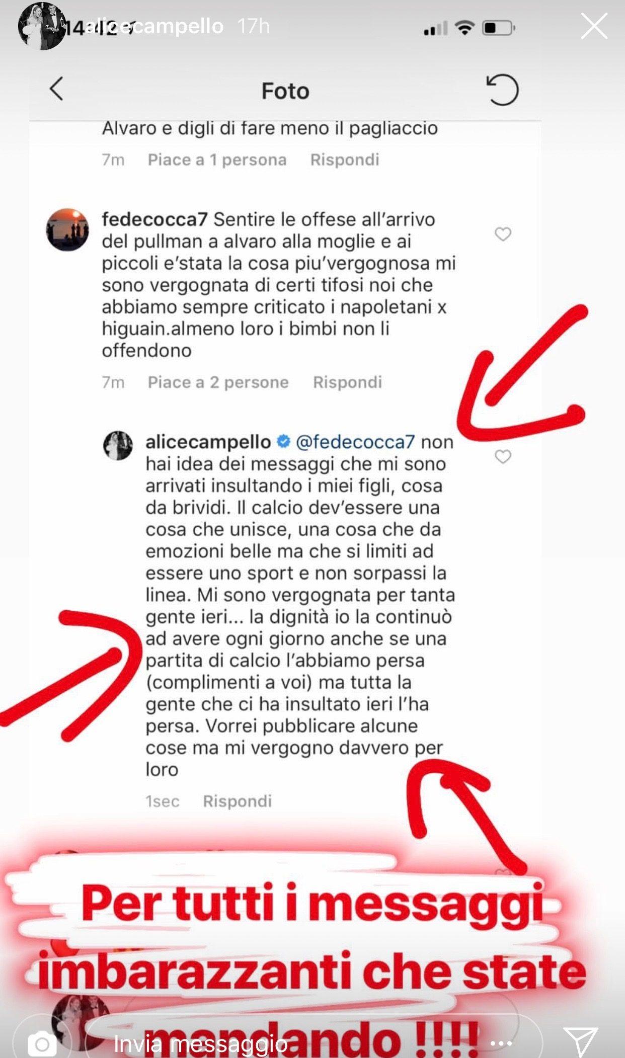 Il post di denuncia di Alice Campello.