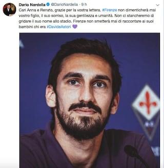 """Nardella rassicura i genitori di Astori: """"Firenze non smetterà mai di raccontarlo"""""""