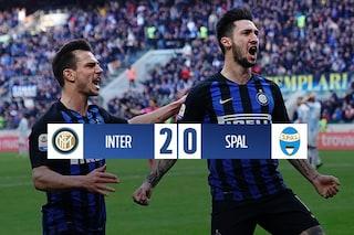 Inter-Spal 2-0, gol di Politano e Gagliardini