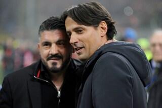 """Milan-Lazio, Gattuso: """"Io e Inzaghi in campo abbracciati"""""""