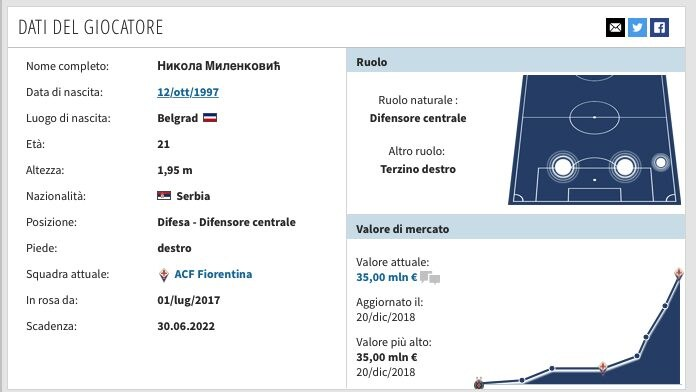 La scheda di Milenkovic. (transfermarkt.it)