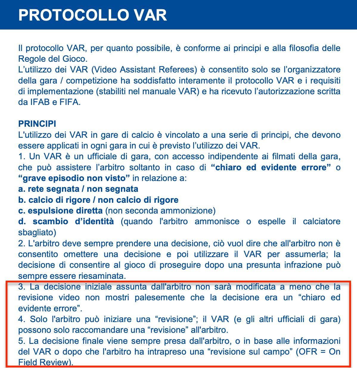 Il regolamento specifica come avviene il processo di revisione Var