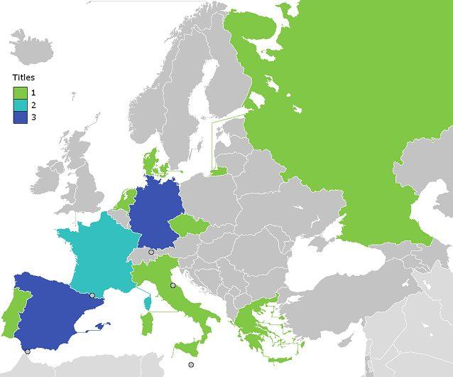 La mappa delle nazioni che hanno vinto almeno una volta la Coppa Campioni/Champions League
