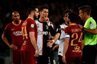 """CR7 a Florenzi: """"Zitto, piccoletto"""". Replica: """"Un Pallone d'Oro non dovrebbe parlare così"""""""