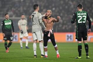 Invasione di campo per abbracciare Ronaldo in Sassuolo-Juventus, Daspo per un 25enne belga