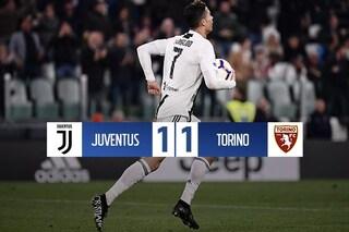 Lukic fa sognare il Toro, CR7 lo riporta sulla terra: il derby di Torino finisce 1-1