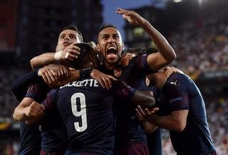 Arsenal in finale di Europa League, 4-2 al Valencia: tripletta di Aubameyang