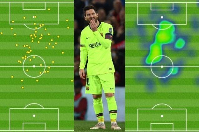 Il dettaglio dei palloni giocati e delle zona d'influenza di Messi a Liverpool (fonte Opta)