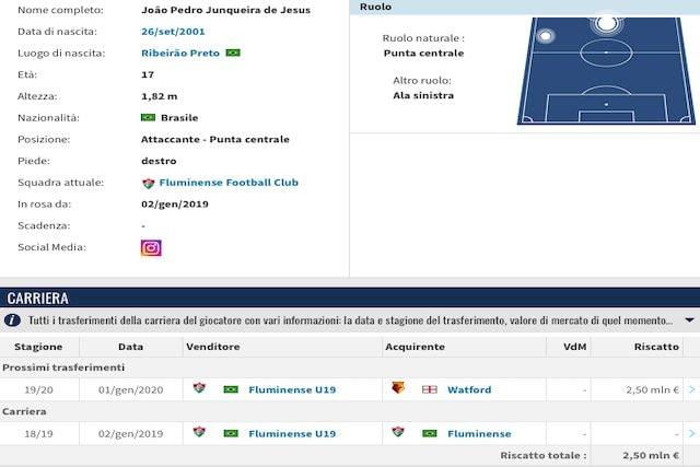 Il profilo di Joao Pedro (Transfermarkt)