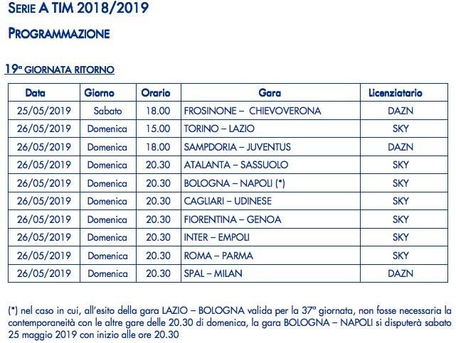 Partite Su Dazn Calendario.Serie A Date E Orari Ultima Giornata Quando Si Gioca E