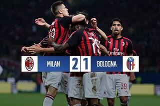 Cuore e sofferenza: il Milan batte il Bologna e rimane in zona Champions