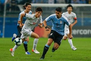 Copa America 2019, Uruguay-Giappone 2-2: a segno Suarez su rigore, Cavani spreca troppo